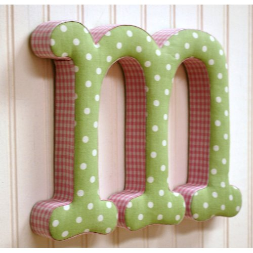 New Arrivals ''m'' Fabric Letter in Pink / Green