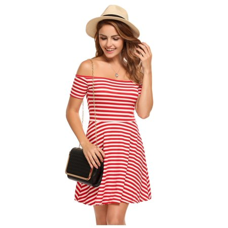 1e511342ce7 Women's Off Shoulder Short Sleeve Striped Fit and Flare Casual Dress HFON