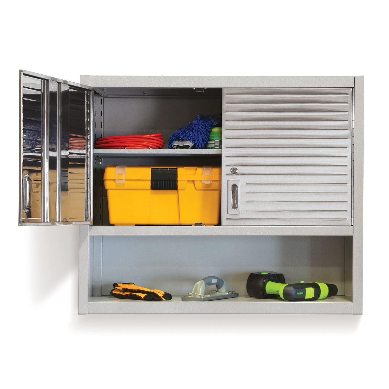 Seville Classics Stainles Steel Wall Tool Cabinet Shelf 200 Lb Capacity Key  Lock