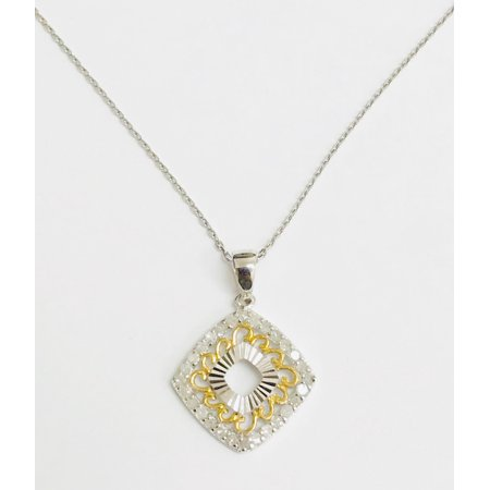 Genuine Natural 1/2 Carat Round Cut Diamond Filigree art Deco Pendant Necklace In 925 Sterling Silver