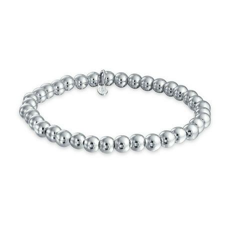 Classic Round Ball Bead Strand Bracelet For Women Shinny High Polish 925 Sterling Silver