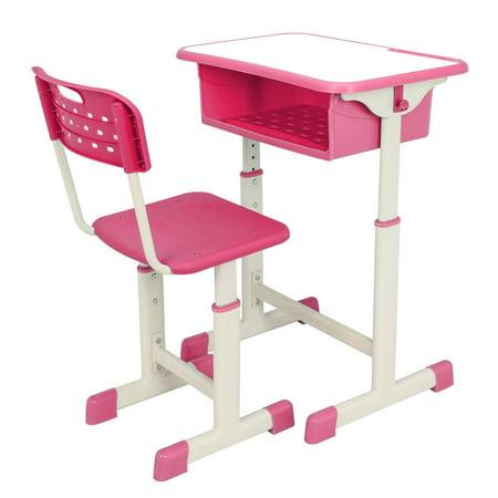 Kids Furniture Desk (Ktaxon High School Student Desk and Chair Set Adjustable Child Study Furniture Storage)