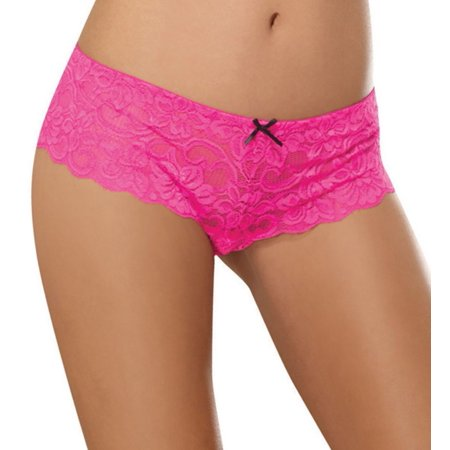 Women's Dreamgirl 7177 Stretch Lace Crotchless Overlap Satin Bow Panty