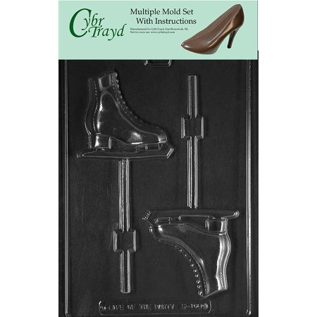 Figure Skates Chocolate Candy Mold with Exclusive Cybrtrayd Copyrighted Molding Instructions, Pack of 3 ()