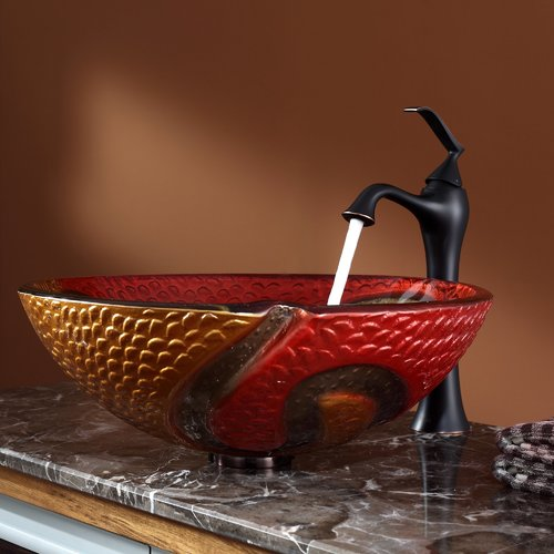 Kraus C-GV-620-17mm-15000ORB Copper Snake Glass Vessel Sink and Ventus Faucet - Oil Rubbed Bronze