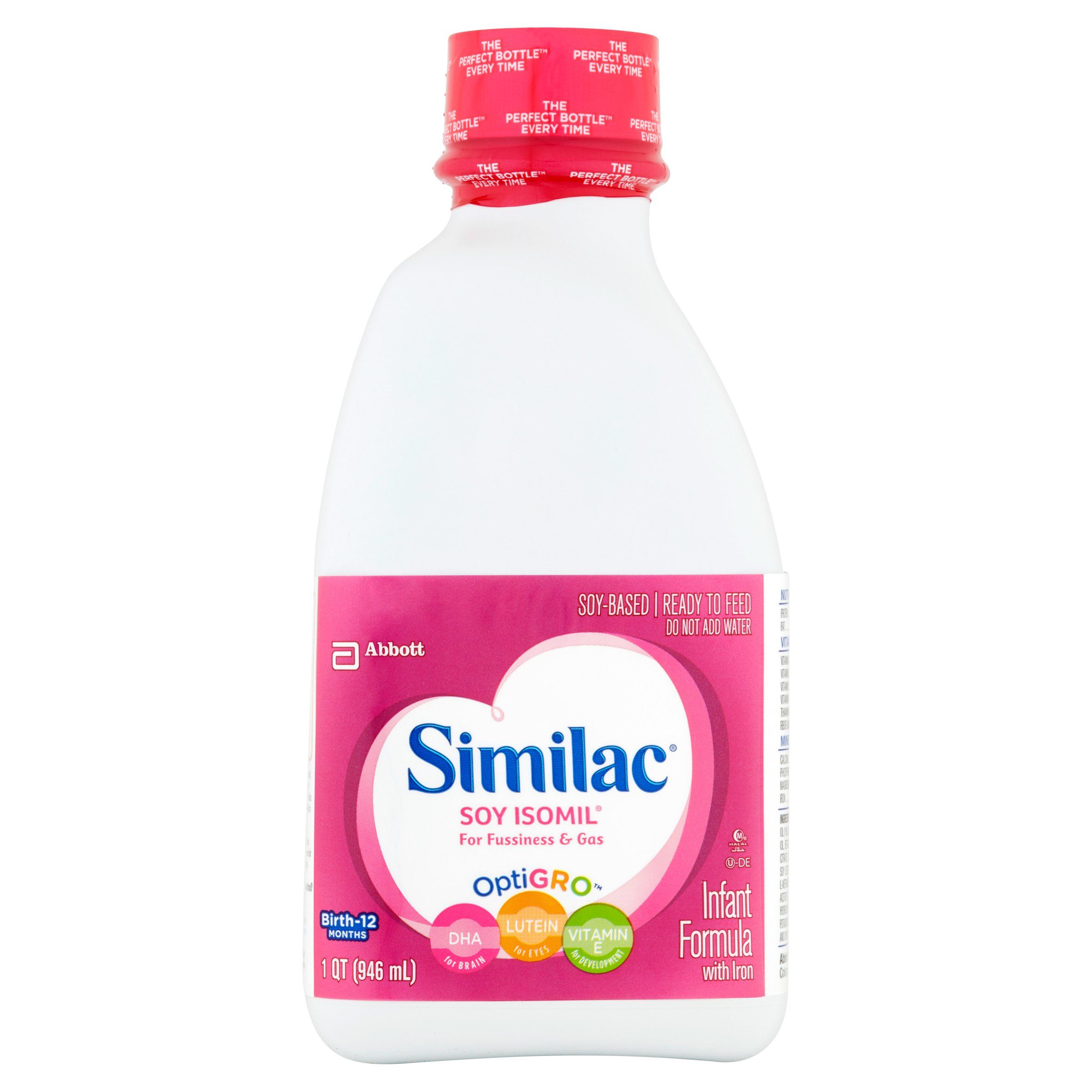 Similac Soy Isomil Infant Formula with Iron, Ready to Feed, 1 qt (Pack of 6) by Similac