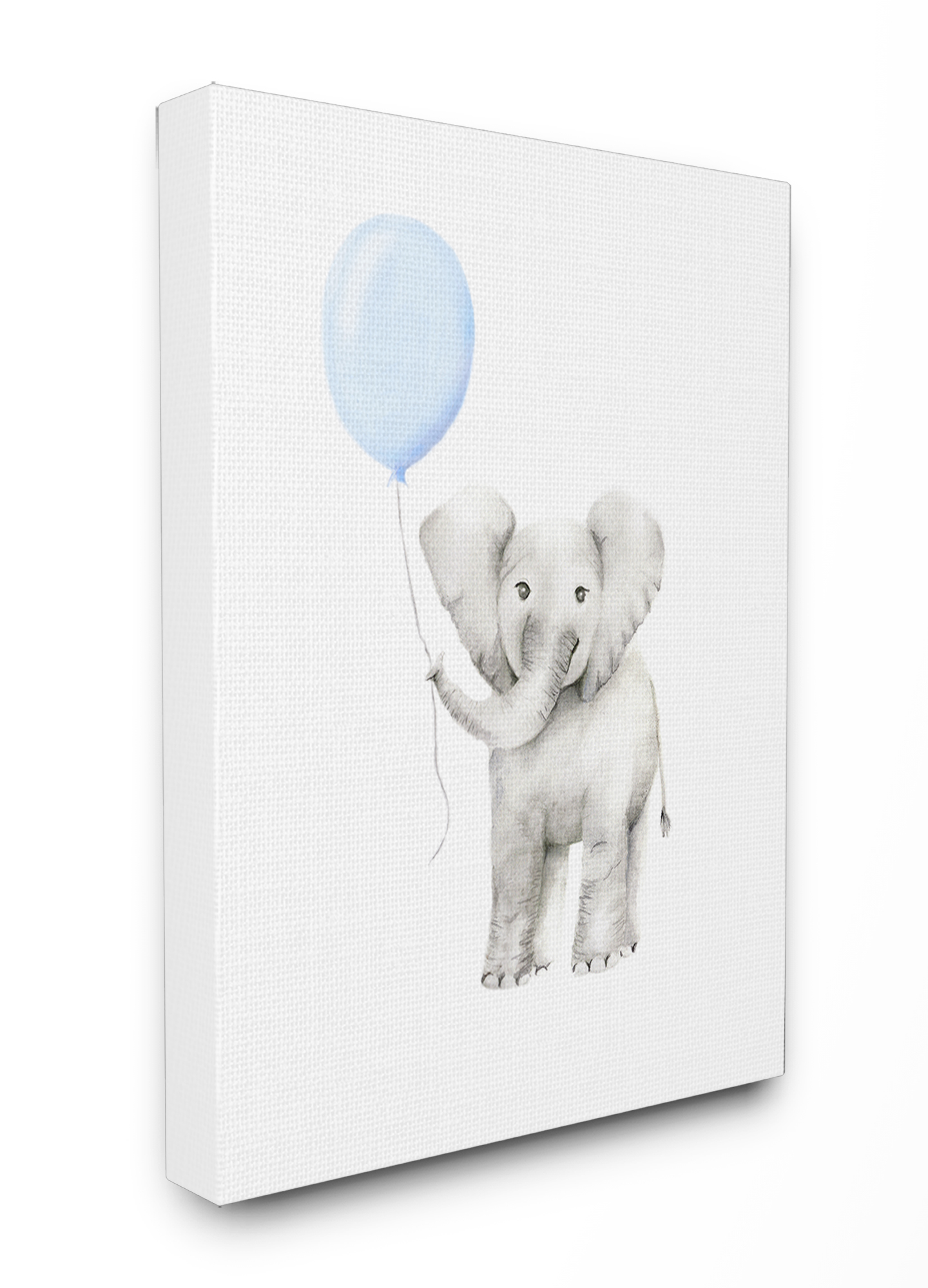 The Kids Room By Stupell Baby Elephant With Blue Balloon Watercolor Oversized Stretched Canvas Wall Art 24 X 1 5 X 30 Walmart Com Walmart Com