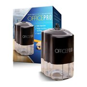 OfficePro Electric Pencil Sharpener with Helical Steel Blade, Shavings Reservoir and 4 x