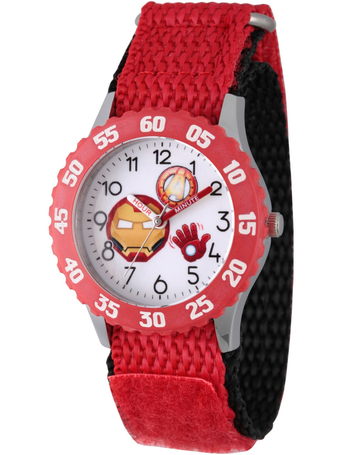 Emoji Kids' Iron Man Stainless Steel Time Teacher Watch, Red Bezel, Red Hook and Loop Nylon Strap with Black Backing