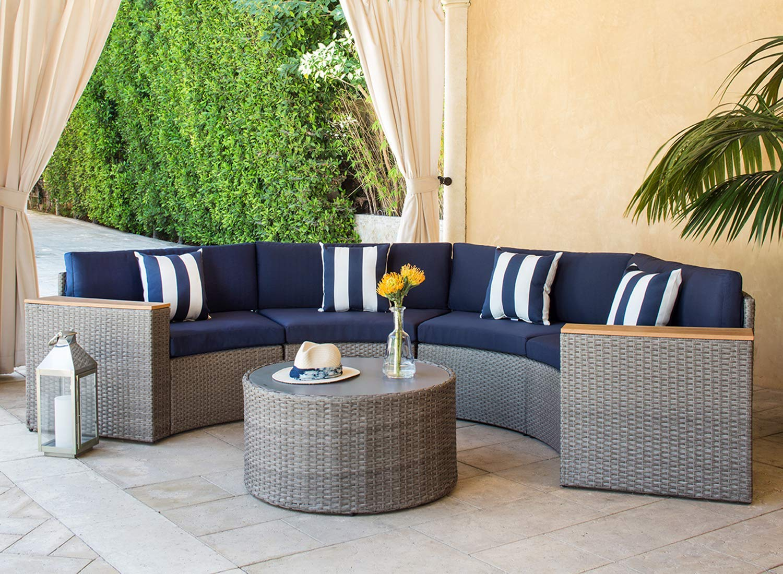 Suncrown Outdoor Half Moon Crescent Sectional Furniture