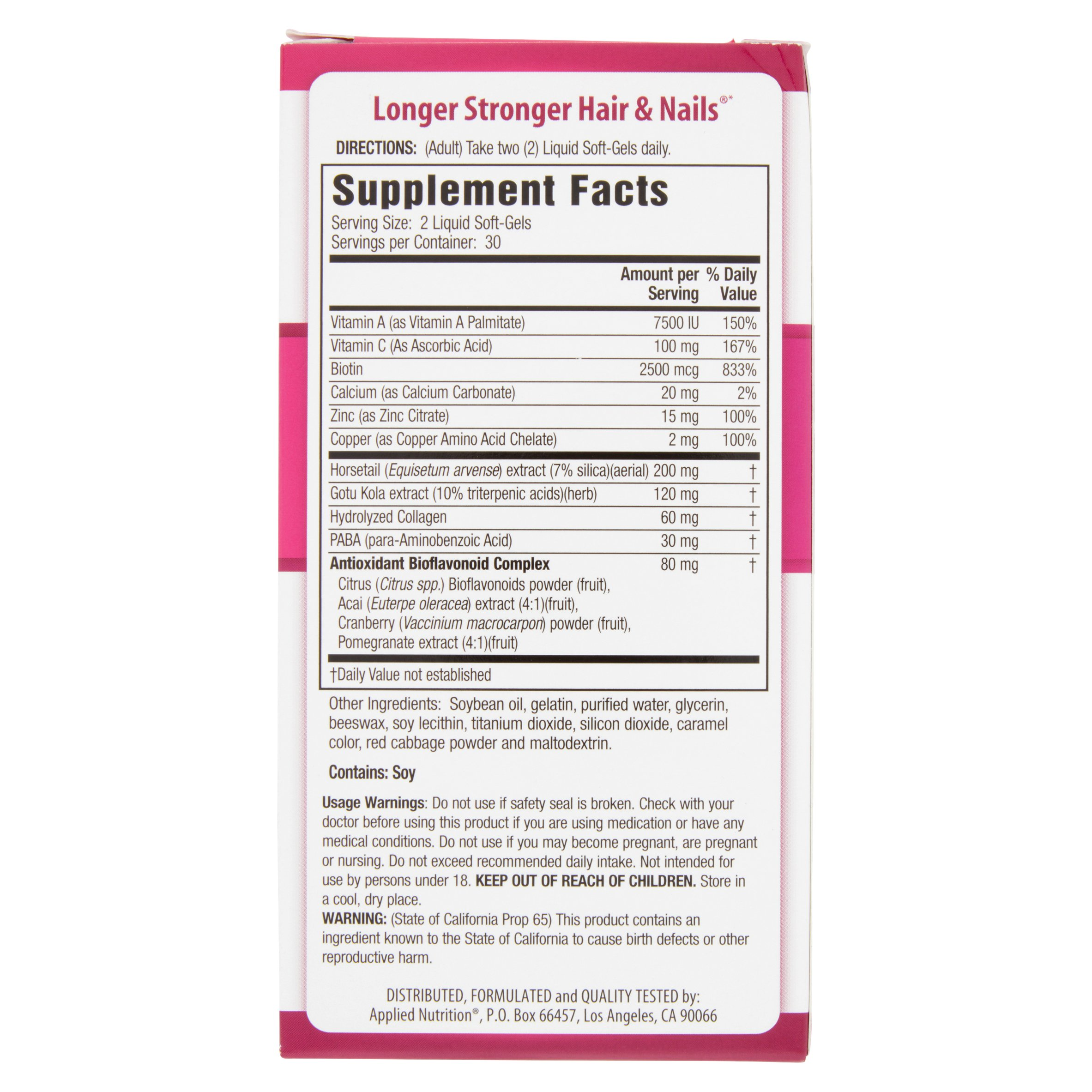 Applied Nutrition Longer Stronger Hair & Nails Liquid Soft-Gels, 60 ...