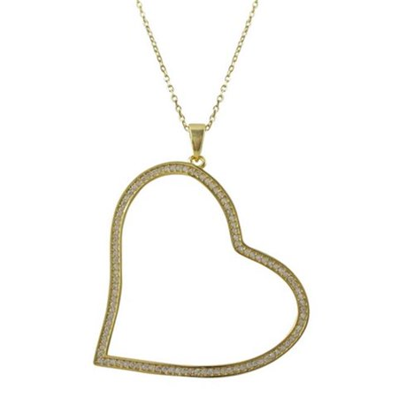 Dlux Jewels Gold Plated Sterling Silver & 41 x 43.4 mm Open Heart Cubic Zirconia Pendant Chain - image 1 de 1