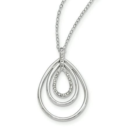 Sterling Silver Diamond Mystique 18in Triple Teardrop Necklace (Weight: 2.43 Grams, Length: 18