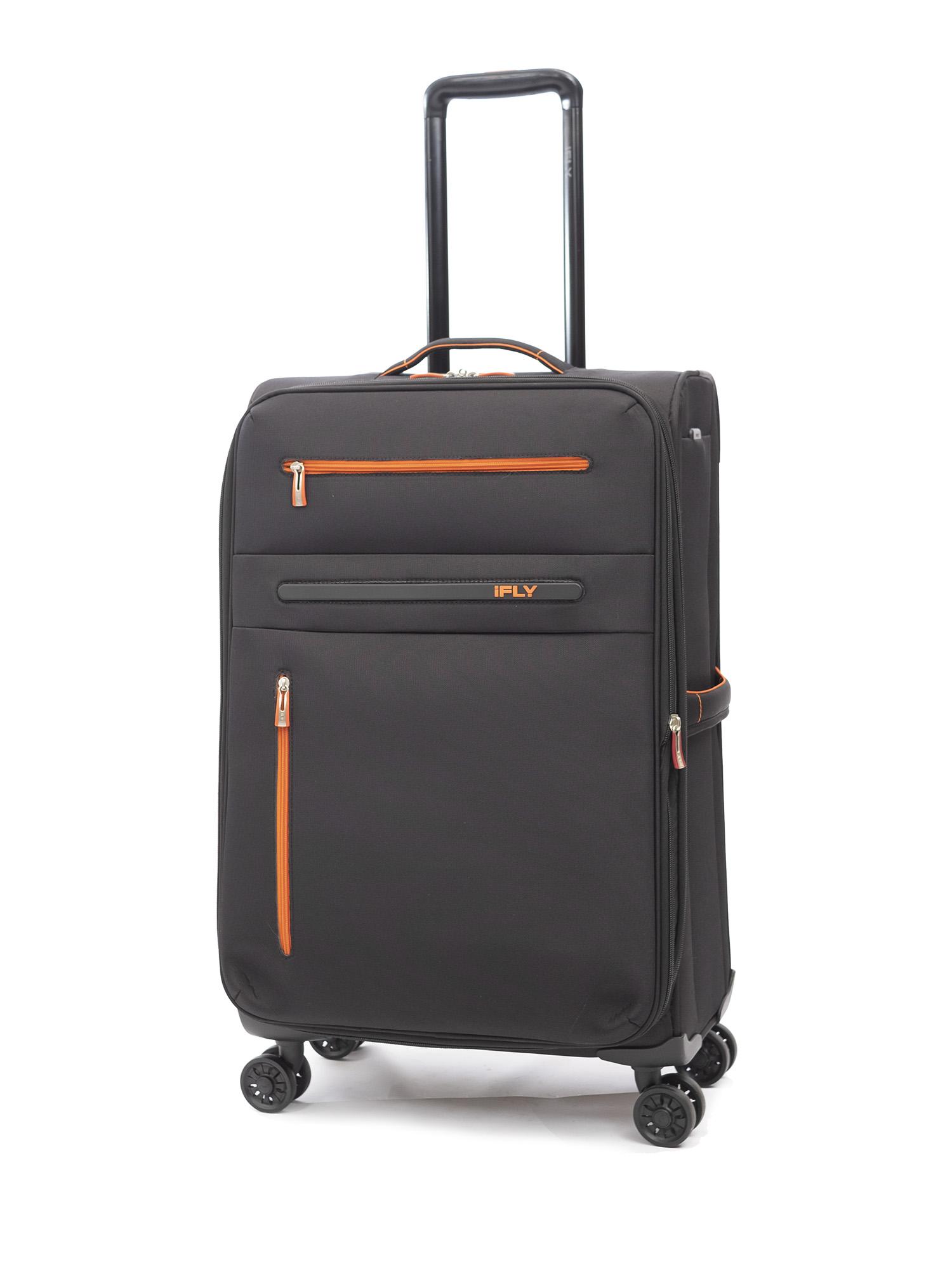 """iFLY Softside Luggage Omni 24"""", Black/Orange"""