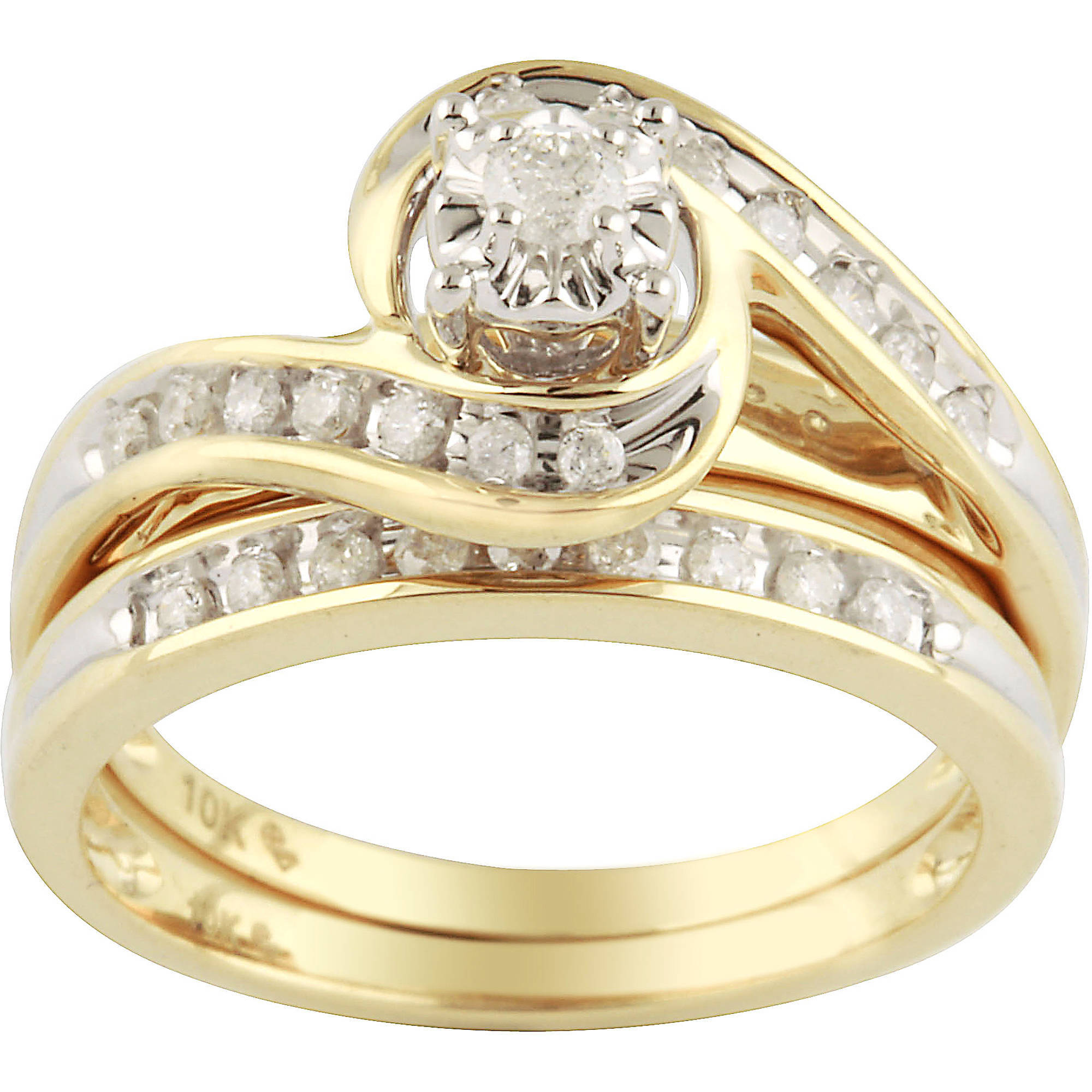 1/3 Carat Diamond Yellow Gold Bypass Bridal Ring Set - Walmart.com