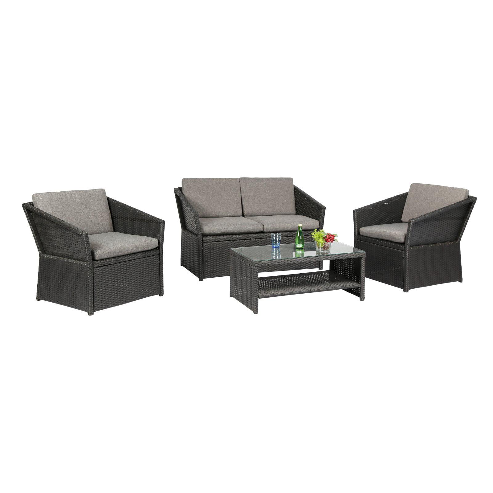 Baner Garden Outdoor Furniture Complete Patio PE Wicker Rattan Garden Set, Black, 4-Pieces by Caesar Hardware International Limited