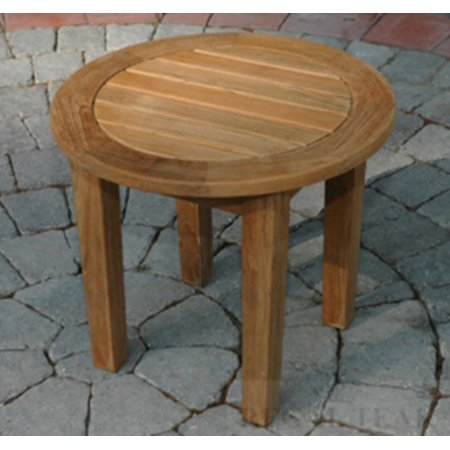18 5 natural teak wooden outdoor patio round side table for Outdoor teak side table