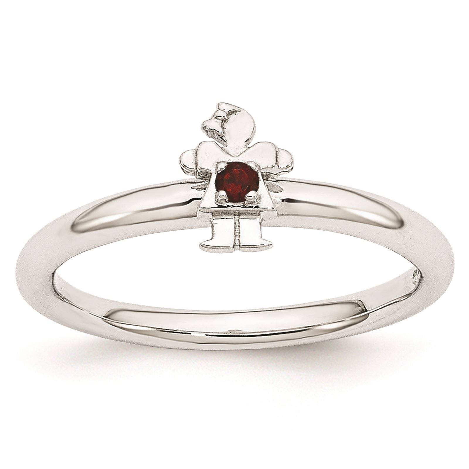 925 Sterling Silver Rhodium Plated Garnet Girl Stackable Ring Size 8