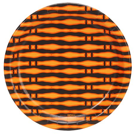 Halloween Black And Orange Print 9Inches Dinner Plates (8 Count) (Halloween Dinner Ideas Adults)