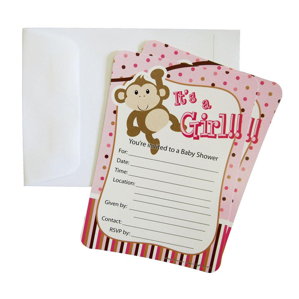 Baby Shower Invitations, 12-Piece, 7-Inches, Monkey Baby Girl, Light Pink