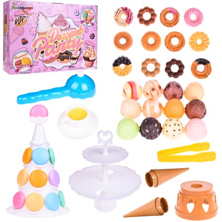 Pretend Play Food Dessert  and Ice Cream Scoop Tower Set Game for Kids Gift for Party , Pinata Toy, Educational Toy, Carnival Prizes, Girls Toy 54PCs F-156