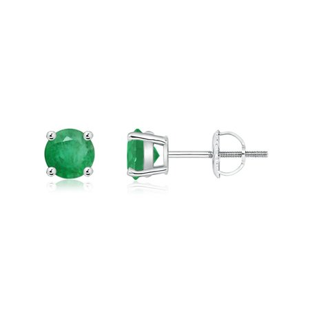 May Birthstone Earrings - Basket-Set Round Emerald Studs in 14K White Gold (5mm Emerald) - SE0102E-WG-A-5