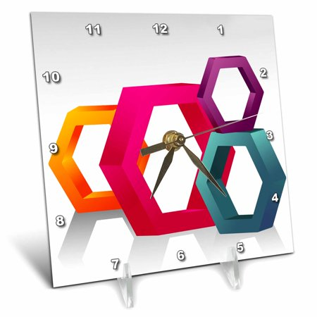 Octagon Wall Clock - 3dRose Large Octagon Shapes In Pink, Purple, Orange, and Turquoise, Desk Clock, 6 by 6-inch