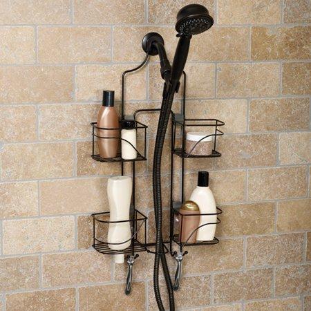 Expanding Shower Caddy Bronze Large Basket Shelves Bath Storage ...