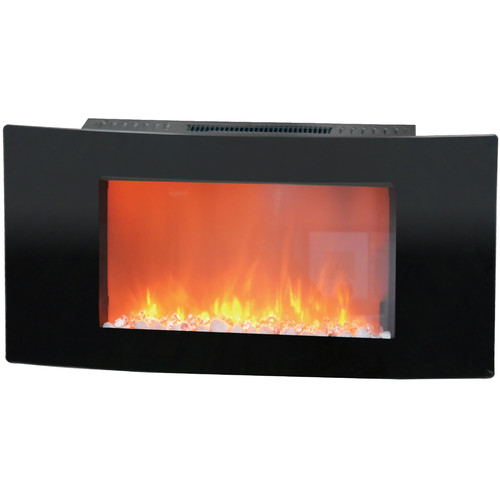 """Cambridge Callisto 35"""" Wall-Mount Electronic Fireplace with Curved Panel and Crystal Rocks"""