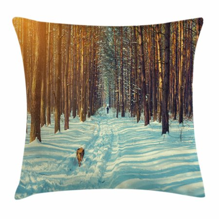 Winter Throw Pillow Cushion Cover, Skier Figure Running Dog in the Forest Winter Season Snow and Dead Nature, Decorative Square Accent Pillow Case, 18 X 18 Inches, Orange Brown Seafoam, by Ambesonne ()