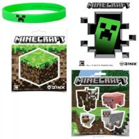 Minecraft Stickers & Creeper Rubber Bracelet Gift Set