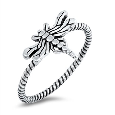 Oxidized Dragonfly Firefly Ring New .925 Sterling Silver Twisted Band Size 5 (Sterling Silver Dragonfly Ring)
