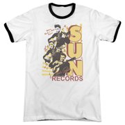 Sun Records Tri Elvis Mens Adult Heather Ringer Shirt