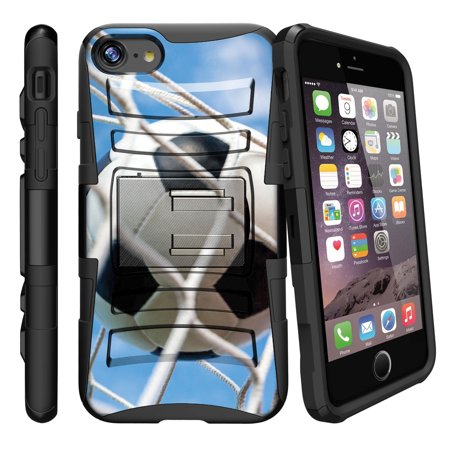 Apple iPhone 7  Case Shell [Clip Armor]- Premium Defender Case Hard Shell Silicone Interior with Kickstand and Holster by Miniturtle® - Sky Soccer Goals