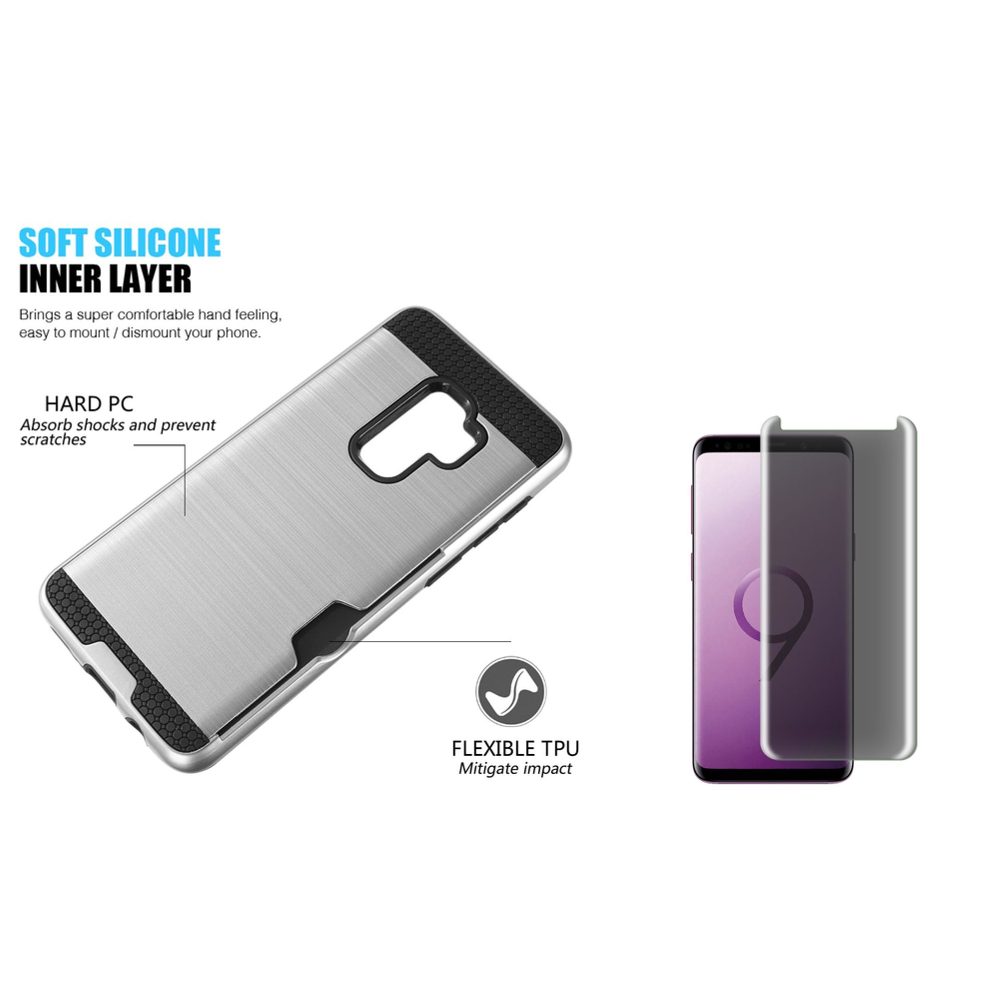 Galaxy s9 plus case with screen protector privacy glass by Insten Card To Go Dual Layer Hybrid Brushed with Holder Slot Phone Case Cover For Samsung Galaxy S9 Plus, Silver/Black