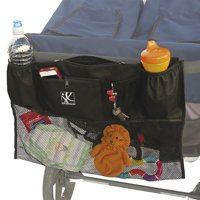 J.L. Childress DoubleCargo Double Stroller Organizer with Extra Large Storage and Mesh Compartment, Black