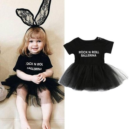 Rock And Roll Outfits (Letter Print Infant Baby Girl Tulle Rock N Roll Romper Dress Bodysuit Outfit)