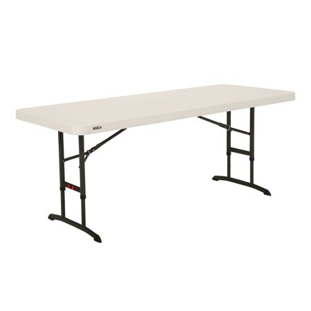 Lifetime 6-Foot Adjustable Height Table in White (Commercial), (Lifetime Almond 5 Foot)