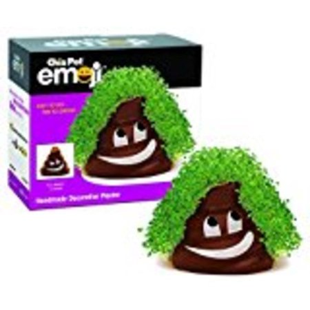 Chia Pet Poopy Emoji Decorative Pottery Planter, Easy to Do and Fun to Grow, Novelty Gift As Seen on TV