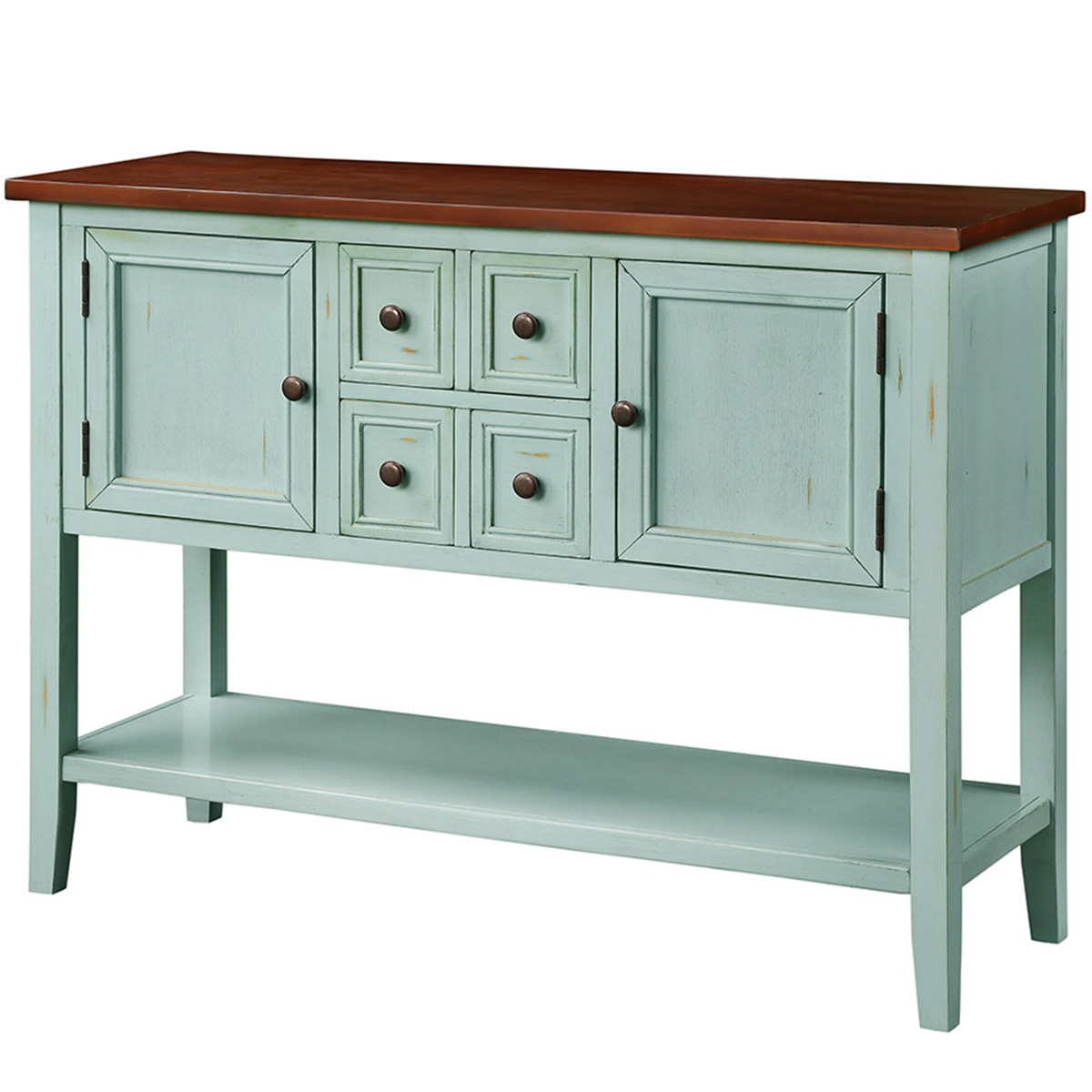 Picture of: Buffet Cabinet Sideboard 46 Dining Room Console Table W 4 Storage Drawers 2 Cabinets 1 Bottom Shelf Buffet Server Cabinet Kitchen Console Table Home Furniture Side Cabinet Antique Blue Q3766 Walmart Com Walmart Com