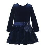 Little Girls Navy Stretch Velvet Bow Accent Bubble Occasion Dress 2T-6