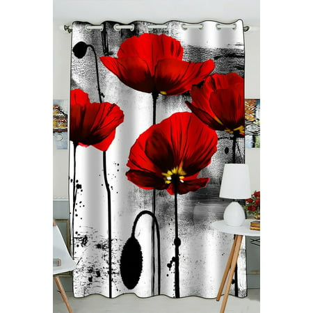 GCKG Vintage Red Poppy Flower Ink Painting Art Blackout Curtains Window treatment Panel Drapes 52(W) x 84(H) inches (One Piece)