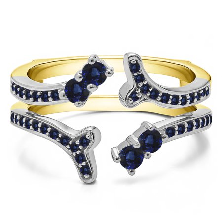 Sapphire Mounted in Sterling Silver Double Shared Prong Two Stone Ring Guard (0.43ctw)