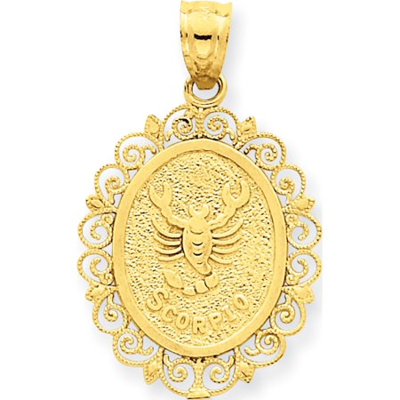 Leslies Fine Jewelry Designer 14k Yellow Gold Solid Satin Polished Scorpio Zodiac Oval (18x25mm) Pendant (14k Gold Scorpio Zodiac)