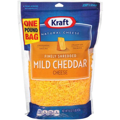 Kraft Finely Shredded Mild Cheddar Cheese, 16 oz
