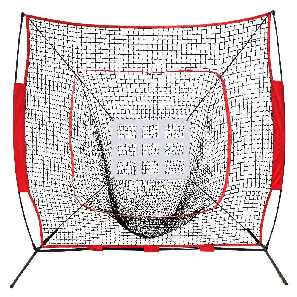 Zeny 7'×7' Baseball Softball Practice Net w/Strike Zone Hitting Batting Catching Pitching Training Net w/Carry Bag & Metal Bow Frame