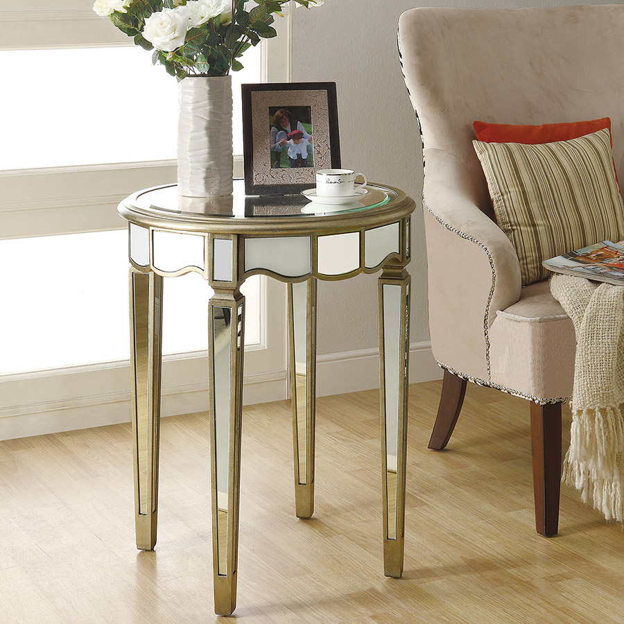 """24"""" Scalloped Accent Table, Brushed Silver/Mirrored"""