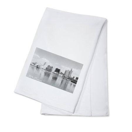Long Beach, California City Skyline View - Vintage Photograph (100% Cotton Kitchen Towel)