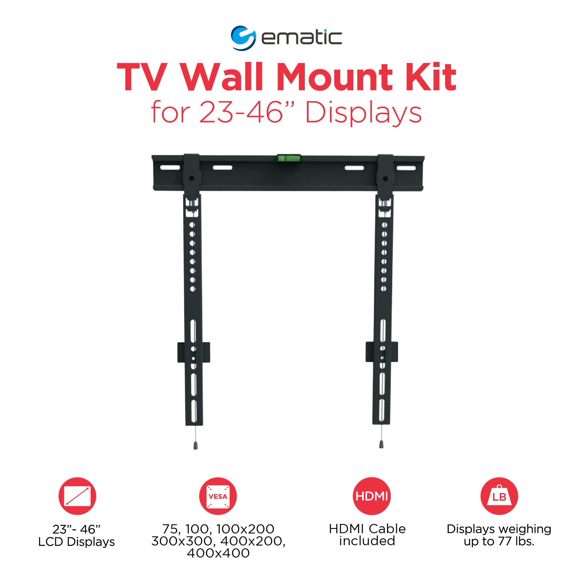 """Ematic Low-Profile Universal Wall Mount for 23"""" to 46"""" TVs with HDMI Cable"""