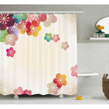 Floral Shower Curtain, Abstract Cartoon Like Contemporary Japanese Asian Art Flowers Ombre Colored Image, Fabric Bathroom Set with Hooks, 69W X 75L Inches Long, Multicolor, by Ambesonne ()